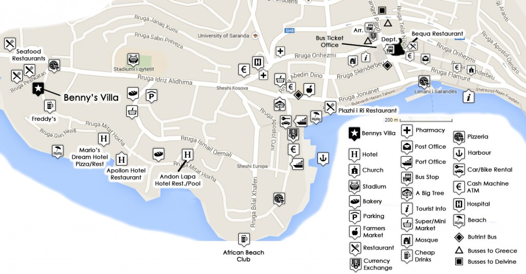 saranda karta Printable Tourist Info Map of Saranda, Albania   Saranda Web saranda karta